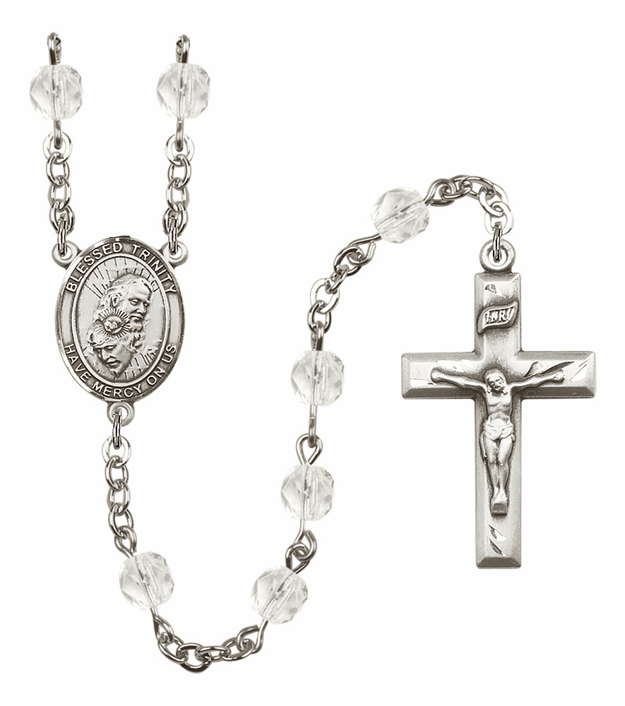 Bliss Mfg Holy Trinity Father, Son & Holy Spirit April - Crystal Birthstone Rosary