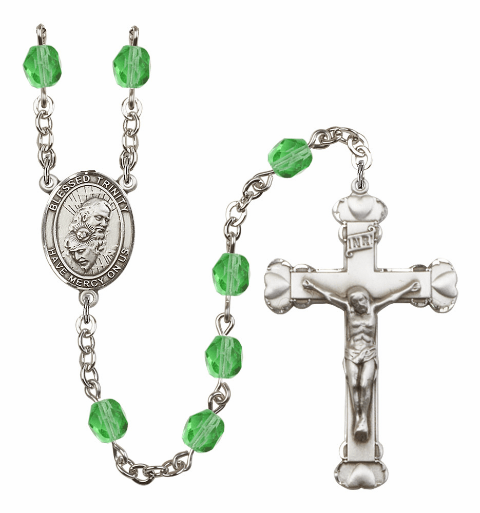 Bliss Mfg Holy Trinity Father, Son & Holy Spirit August Peridot Birthstone Heart Rosary