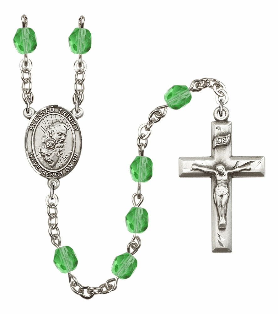Bliss Mfg Holy Trinity Father, Son & Holy Spirit August Peridot Birthstone Rosary