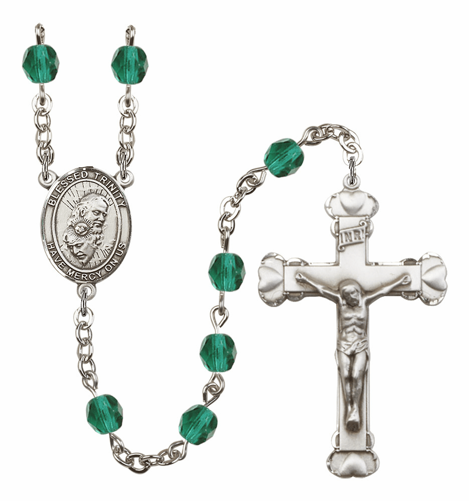 Bliss Mfg Holy Trinity Father, Son & Holy Spirit December Zircon Birthstone Heart Rosary