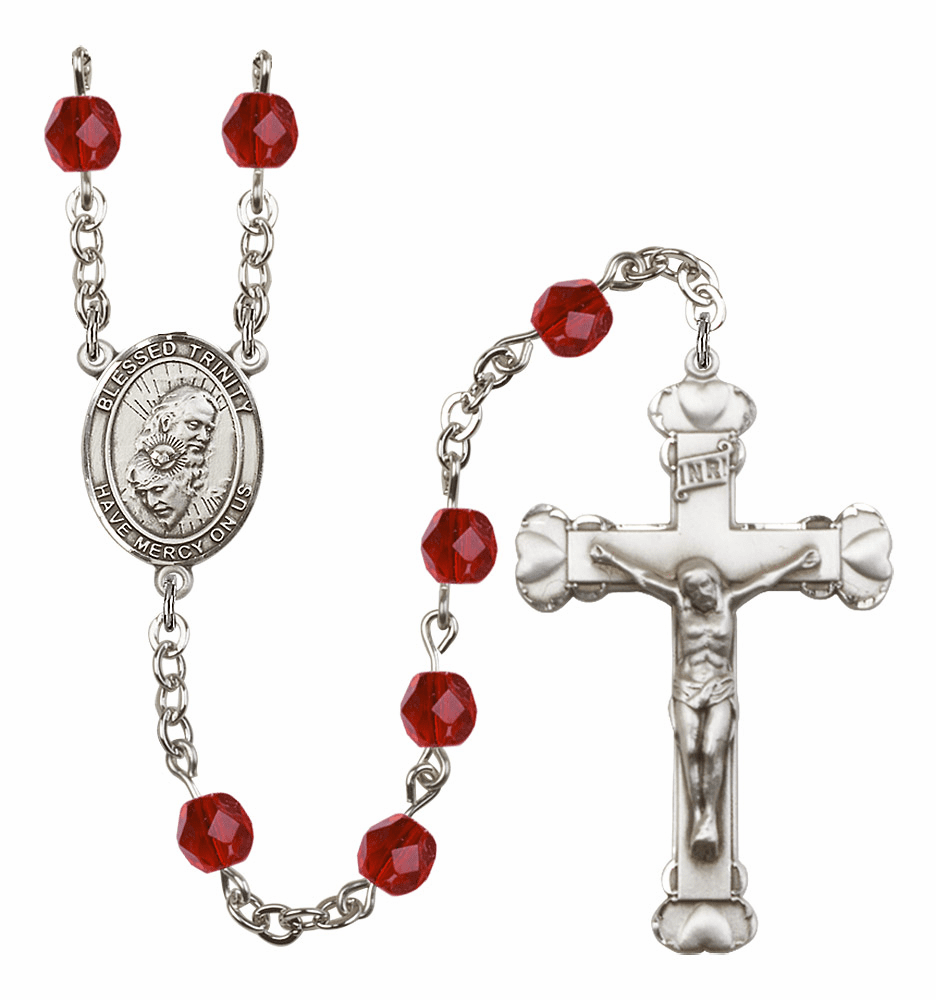Bliss Mfg Holy Trinity Father, Son & Holy Spirit July Ruby Birthstone Heart Rosary