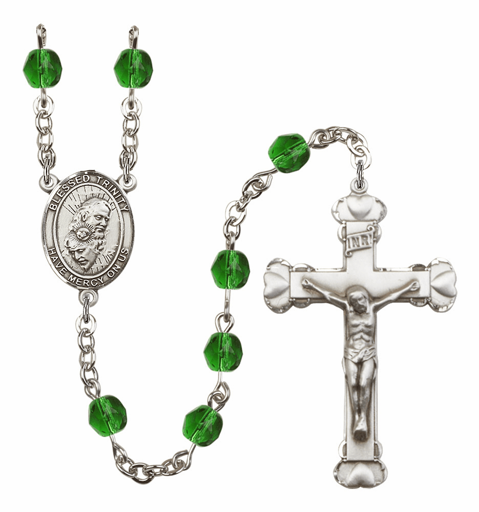 Bliss Mfg Holy Trinity Father, Son & Holy Spirit May Emerald Birthstone Heart Rosary
