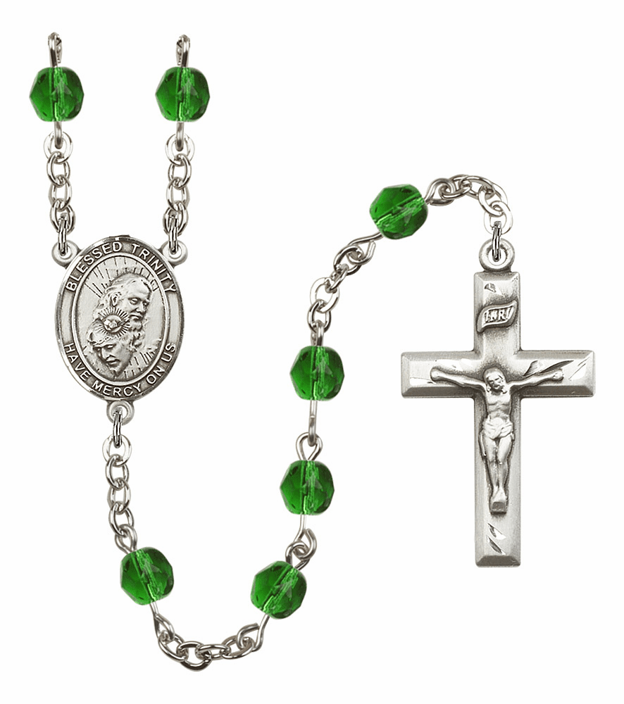 Bliss Mfg Holy Trinity Father, Son & Holy Spirit May Emerald Birthstone Rosary