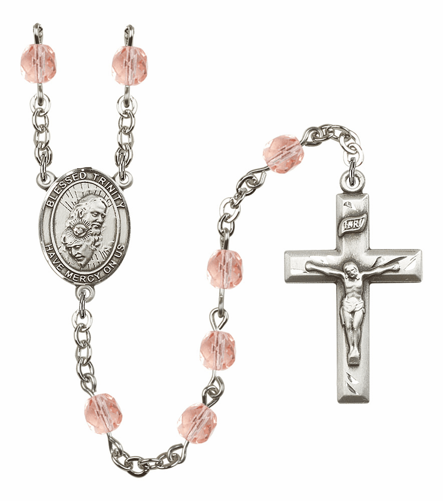 Bliss Mfg Holy Trinity Father, Son & Holy Spirit October Rose Birthstone Rosary