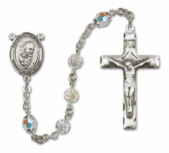 Bliss Mfg Holy Trinity Sterling Silver Crystal Swarovski Rosary