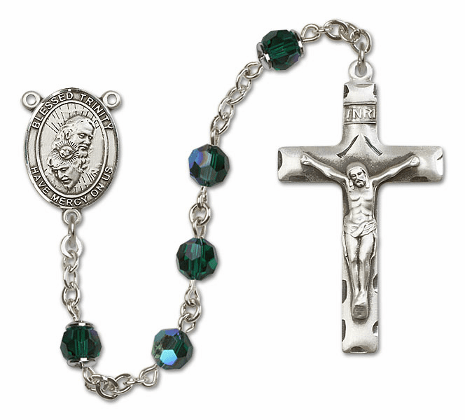 Bliss Mfg Holy Trinity Sterling Silver Emerald Swarovski Rosary