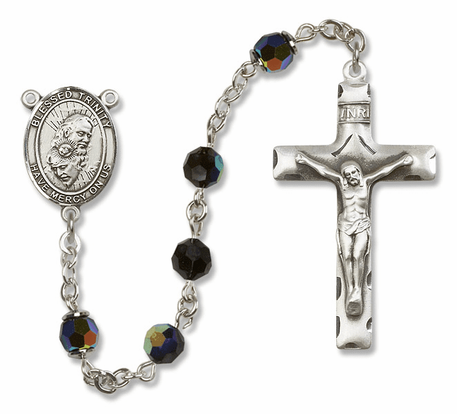 Bliss Mfg Holy Trinity Sterling Silver Jet Black Swarovski Rosary