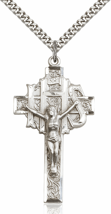 Bliss Mfg IHS Sterling Silver Crucifix Cross Pendant w/Chain