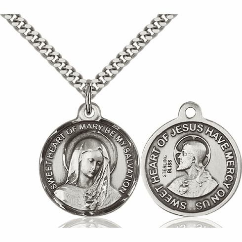 Bliss Immaculate Heart of Mary and Sacred Heart Medal Necklace