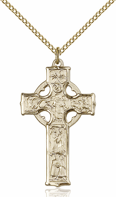 Bliss Mfg Irish Celtic Cross Gold-filled Pendant w/18 inch Plated Lt Curb Chain