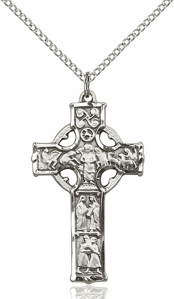 Bliss Mfg Irish Celtic Cross Sterling Silver Pendant w/18 inch Silver-plated Lite Curb Chain