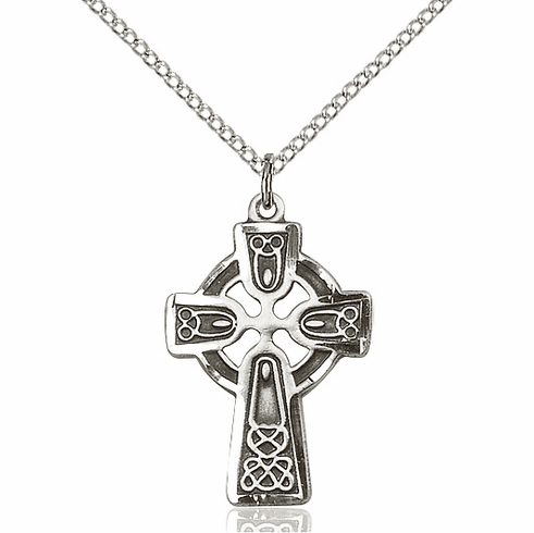 "Bliss Mfg Irish Celtic Cross Sterling Silver Pendant w/18"" Plated Chain"