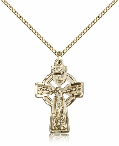 Bliss Mfg Irish Celtic Crucifix Cross Gold-filled Pendant w/18 inch Plated Chain