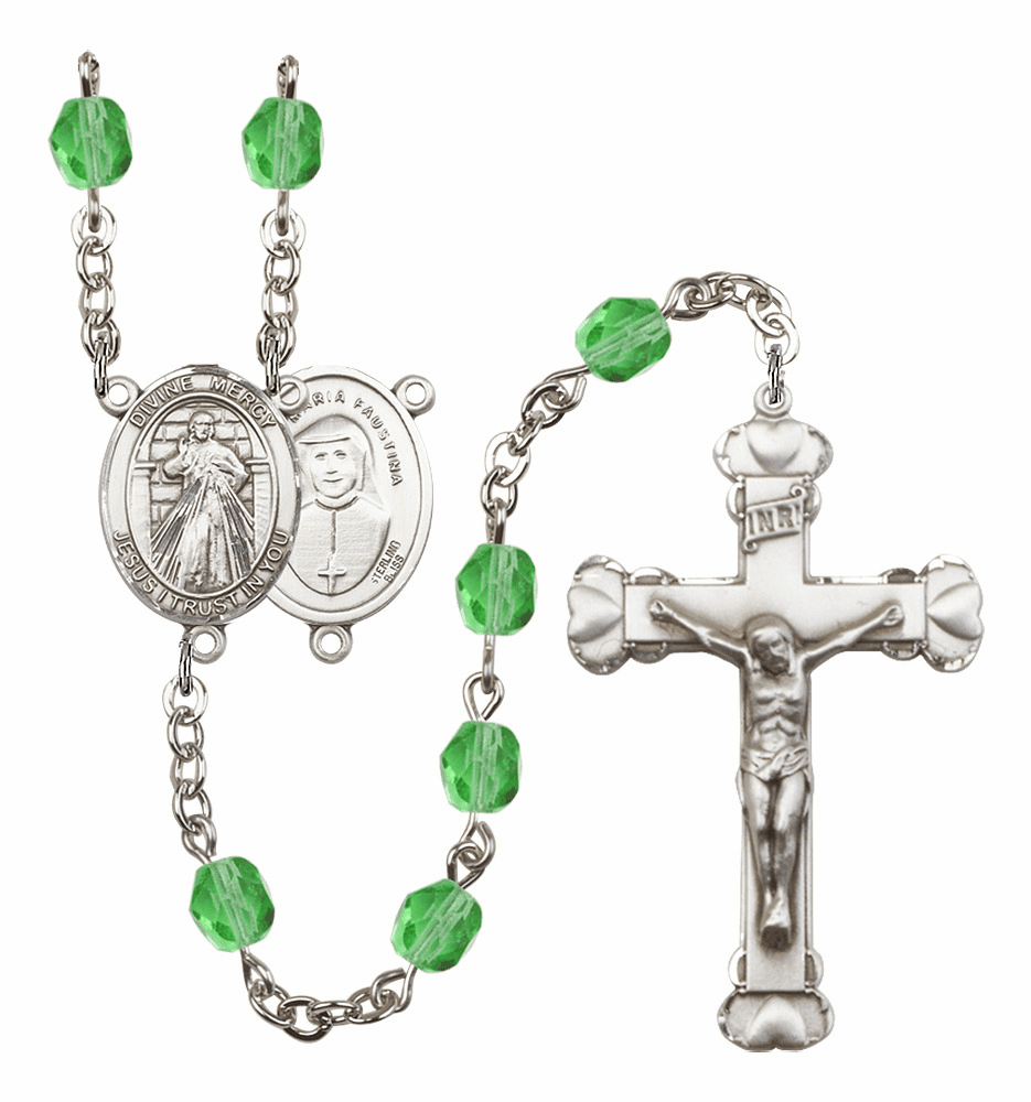 Bliss Mfg Jesus Divine Mercy August Peridot Birthstone Heart Rosary
