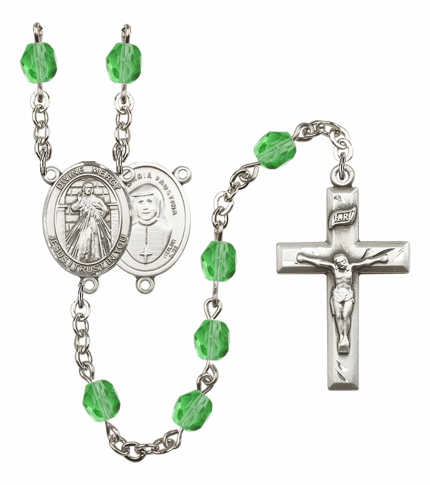 Bliss Mfg Jesus Divine Mercy August Peridot Birthstone Rosary
