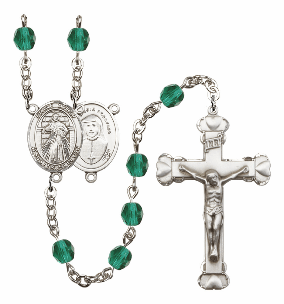 Bliss Mfg Jesus Divine Mercy December Zircon Birthstone Heart Rosary
