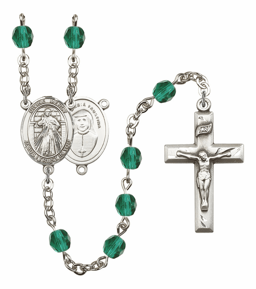 Bliss Mfg Jesus Divine Mercy December Zircon Birthstone Rosary