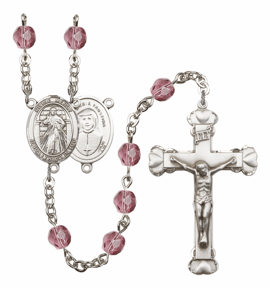 Bliss Mfg Jesus Divine Mercy February Amethyst Birthstone Heart Rosary