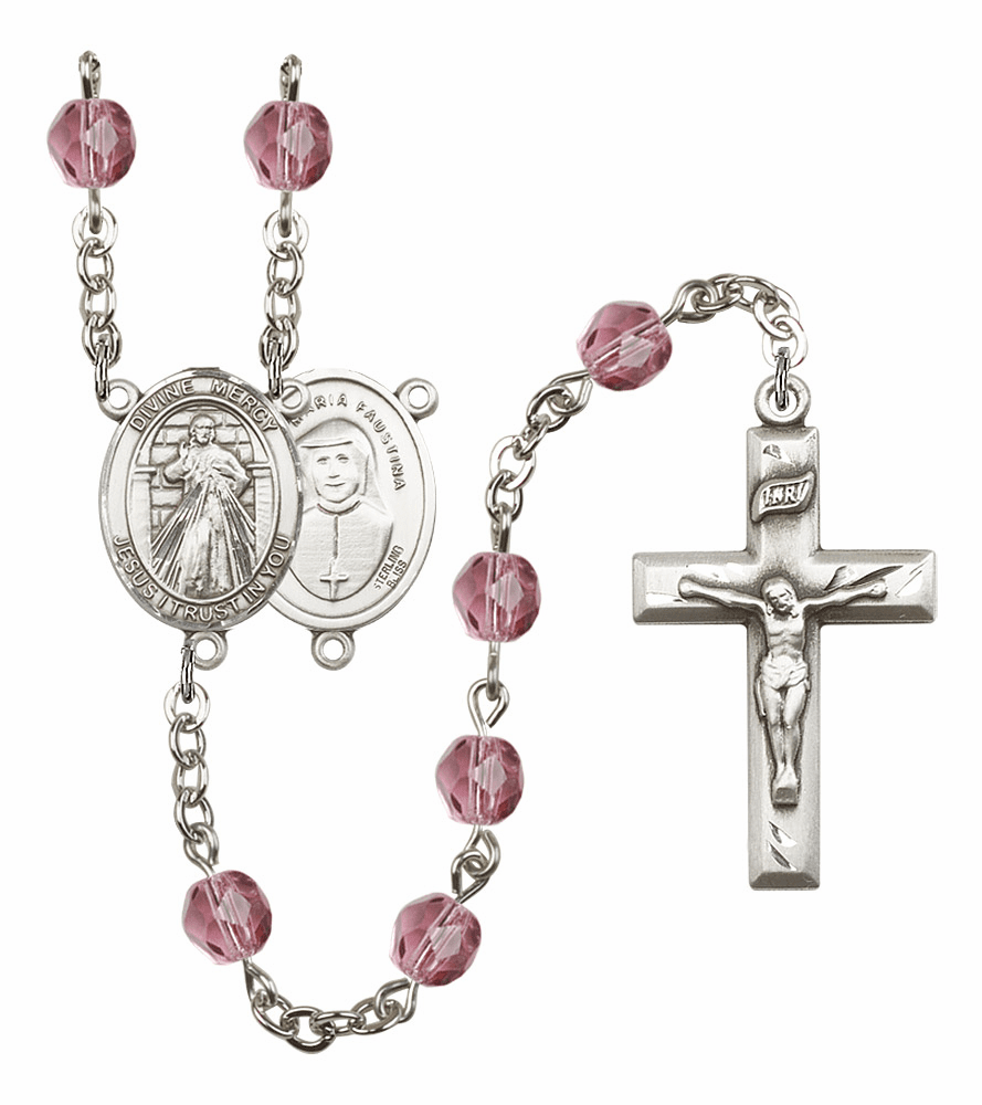 Bliss Mfg Jesus Divine Mercy February Amethyst Birthstone Rosary