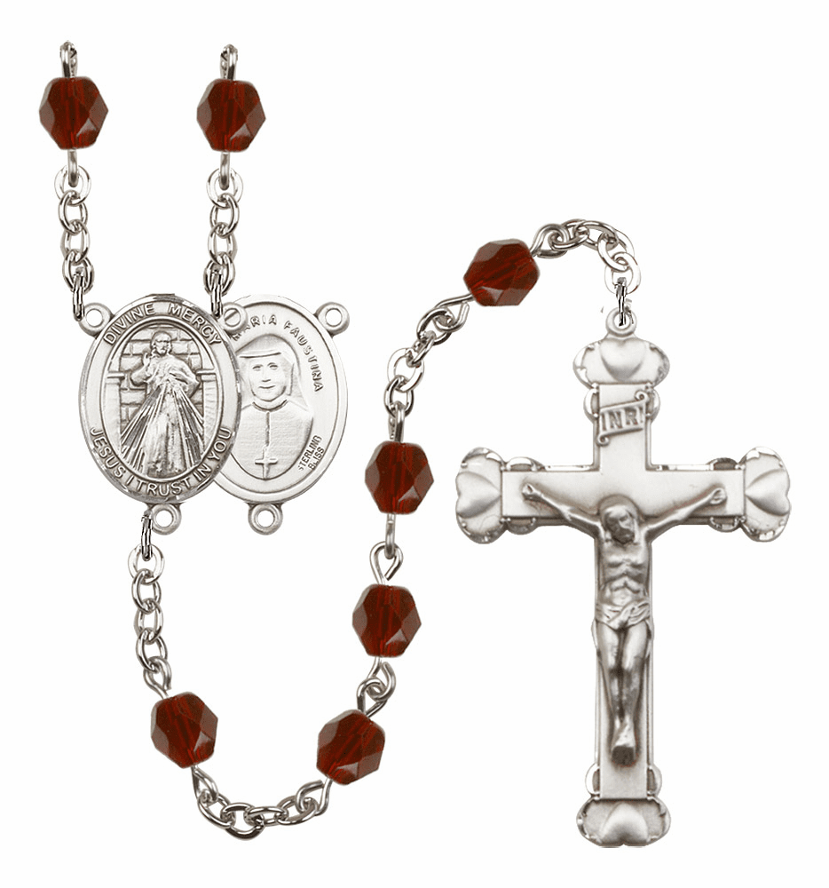 Bliss Mfg Jesus Divine Mercy January Garnet Birthstone Heart Rosary