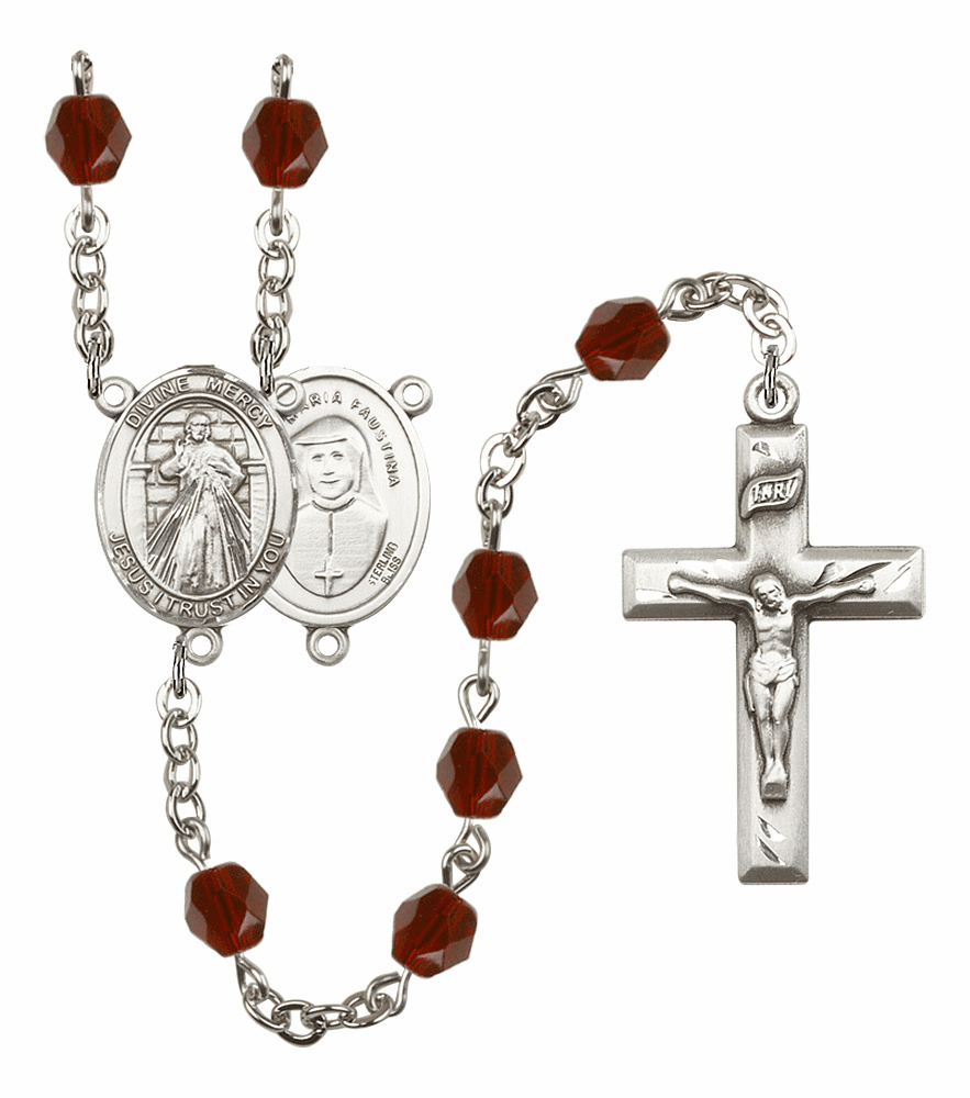 Bliss Mfg Jesus Divine Mercy January Garnet Birthstone Rosary