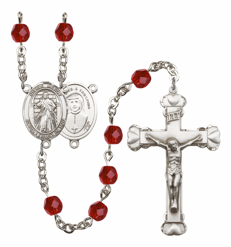 Bliss Mfg Jesus Divine Mercy July Ruby Birthstone Heart Rosary