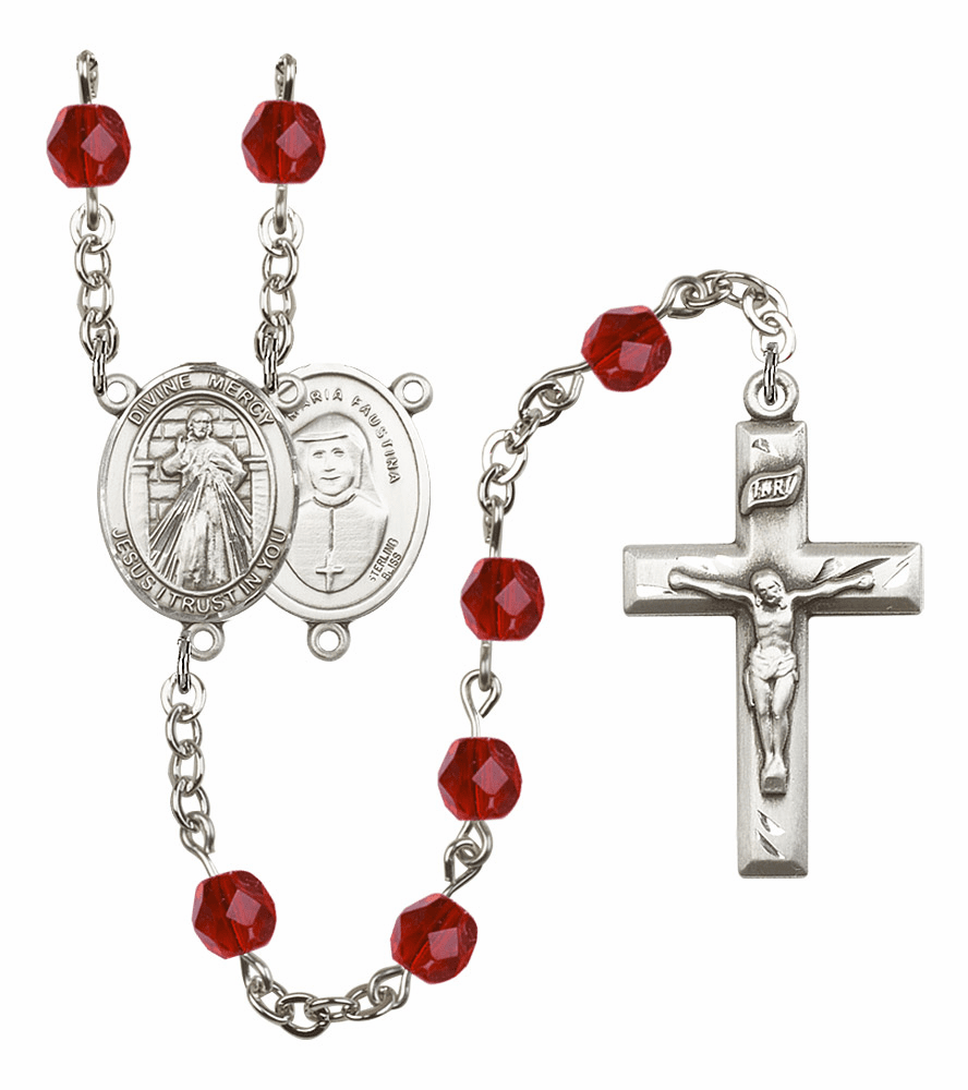 Bliss Mfg Jesus Divine Mercy July Ruby Birthstone Rosary