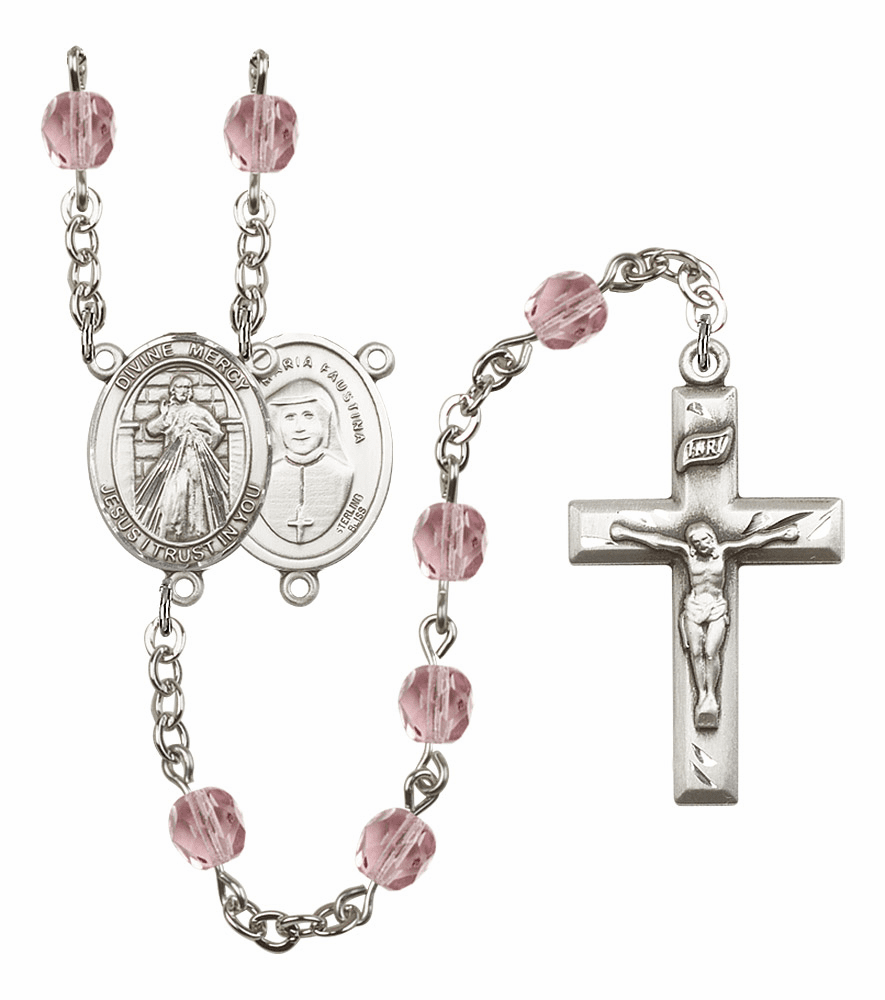 Bliss Mfg Jesus Divine Mercy June Lt Amethyst Birthstone Rosary