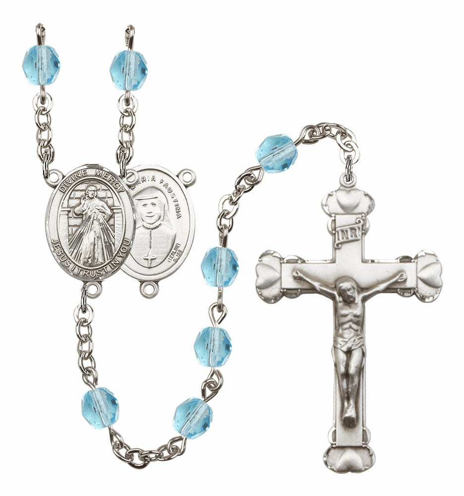 Bliss Mfg Jesus Divine Mercy March Aqua Birthstone Heart Rosary
