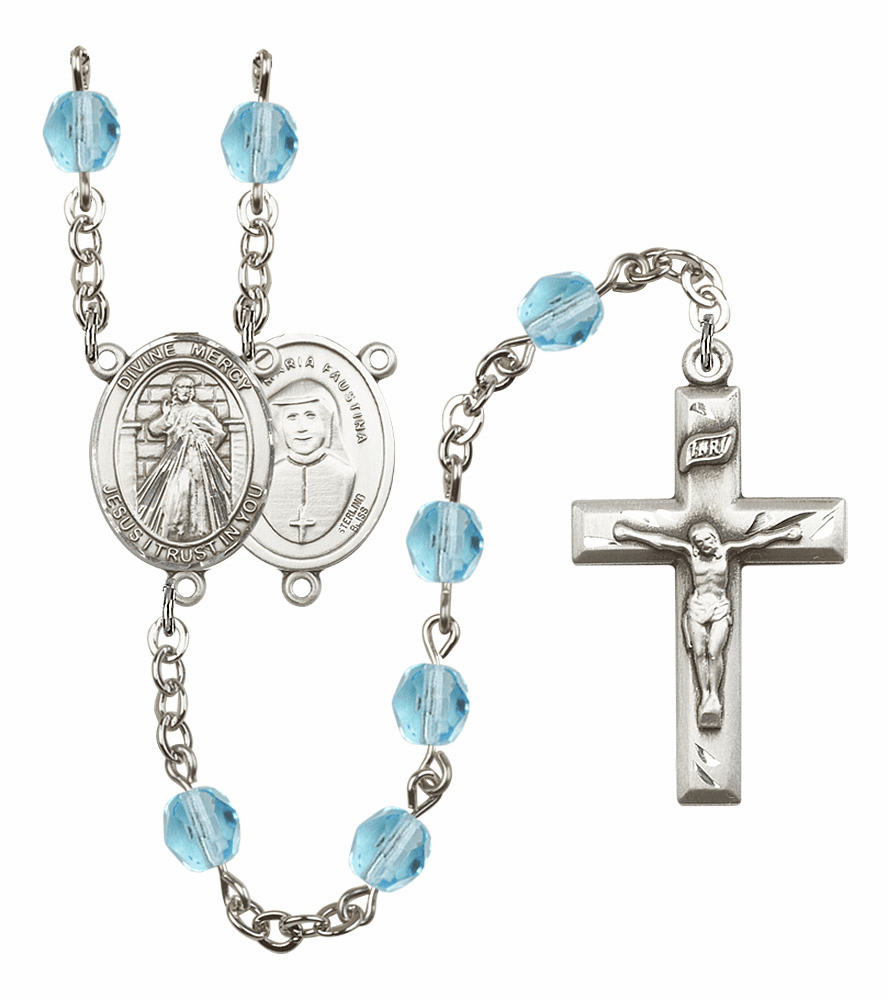Bliss Mfg Jesus Divine Mercy March Aqua Birthstone Rosary