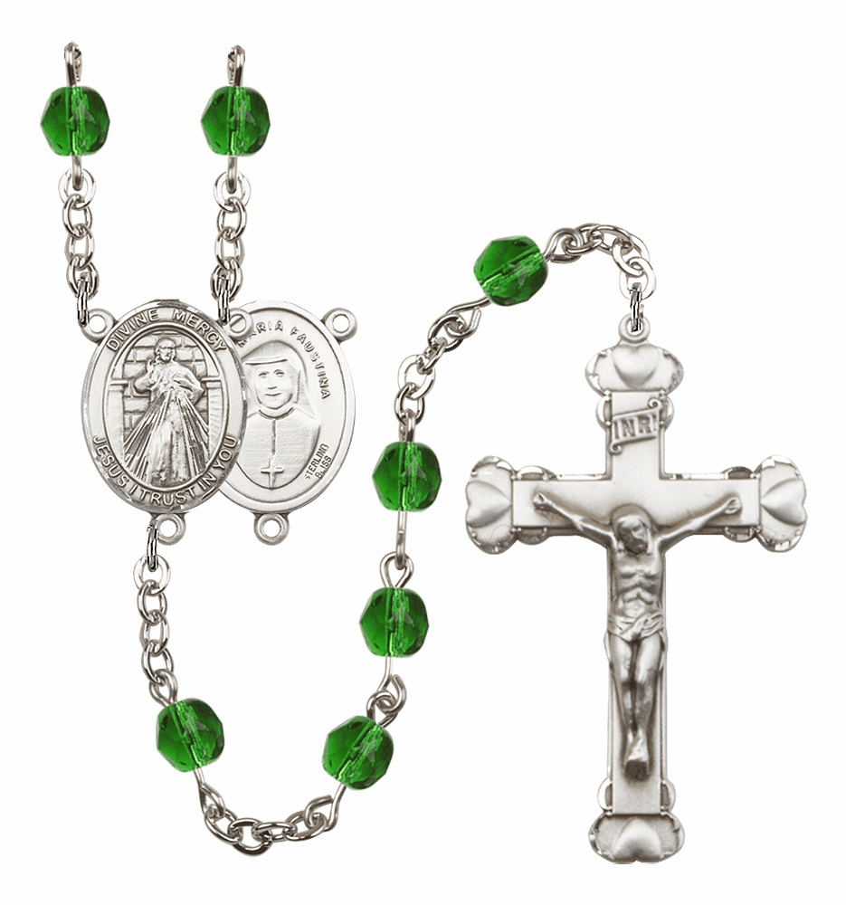Bliss Mfg Jesus Divine Mercy May Emerald Birthstone Heart Rosary