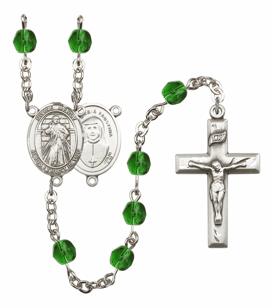 Bliss Mfg Jesus Divine Mercy May Emerald Birthstone Rosary
