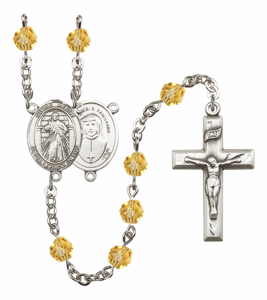 Bliss Mfg Jesus Divine Mercy November Topaz Birthstone Rosary