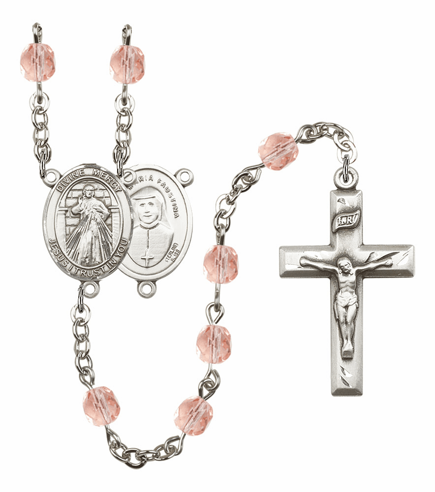 Bliss Mfg Jesus Divine Mercy October Rose Birthstone Rosary