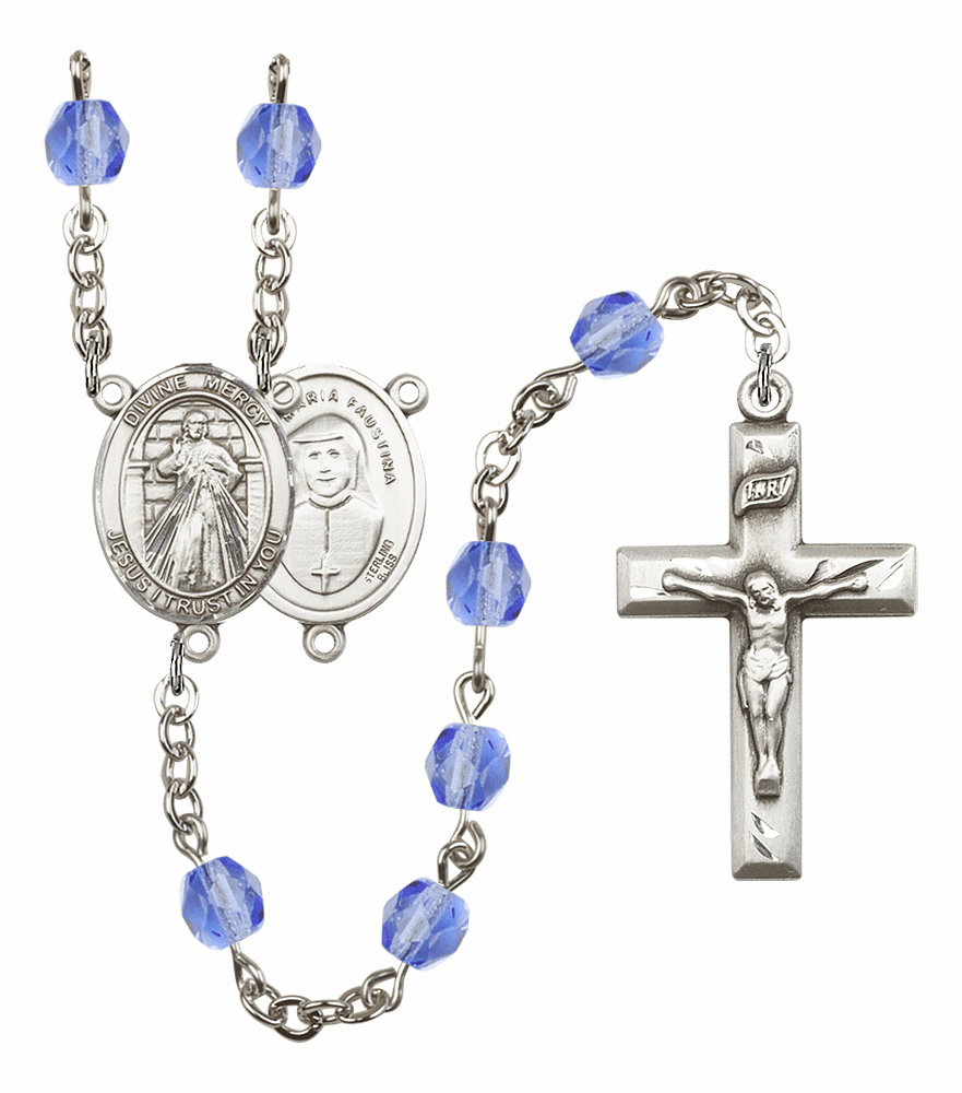 Bliss Mfg Jesus Divine Mercy September Sapphire Birthstone Rosary