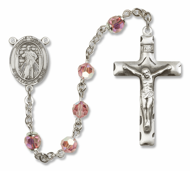 Bliss Mfg Jesus Divine Mercy Sterling Silver Lt Rose Swarovski Rosary