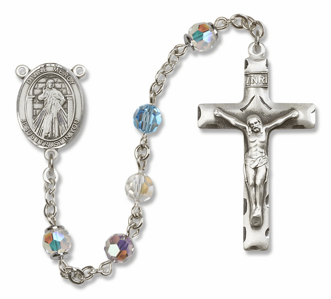 Bliss Mfg Jesus Divine Mercy Sterling Silver Multi-Color Swarovski Rosary