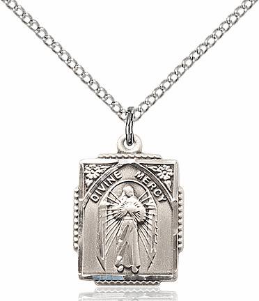 Bliss Mfg Jesus Divine Mercy Sterling Silver Religious Medal Necklace