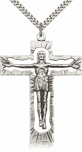Bliss Mfg Large Openwork Sterling Silver Crucifix Cross
