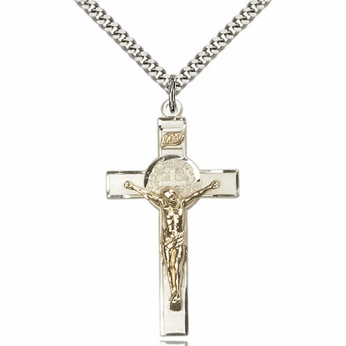Bliss Mfg Large Two-Tone St. Benedict Crucifix Pendant