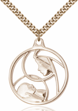 Bliss Mfg Madonna and Child 14kt Gold-filled Pendant Necklace
