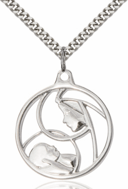 Bliss Mfg Madonna and Child Sterling Silver Pendant Necklace