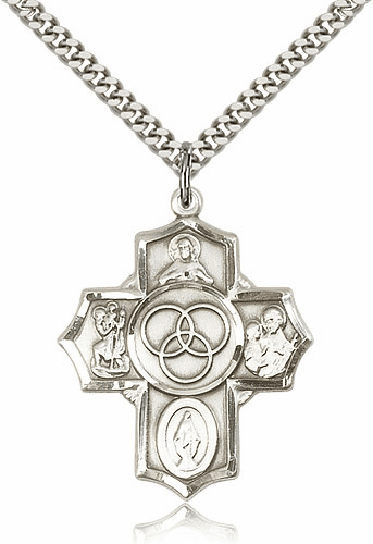Bliss Mfg Marriage/Family Sterling Silver 5-Way Cross Medal Necklace