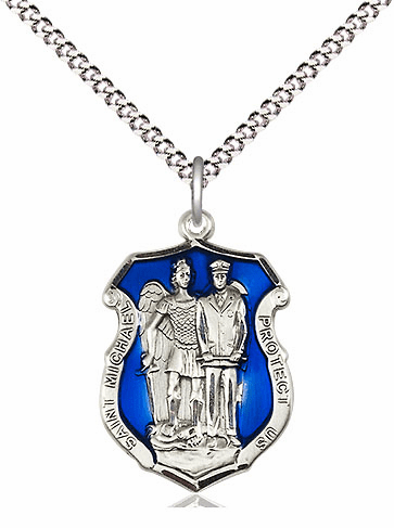 Bliss Mfg Medium Blue Epoxy St Michael Police Shield Sterling Silver Medal Pendant Necklace