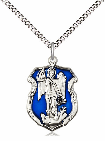 Bliss Medium Blue Epoxy St Michael Shield Sterling Silver Medal Necklace