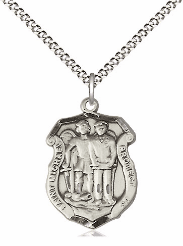 Bliss Mfg Medium St Michael the Archangel Police Shield Sterling Silver Medal Pendant Necklace