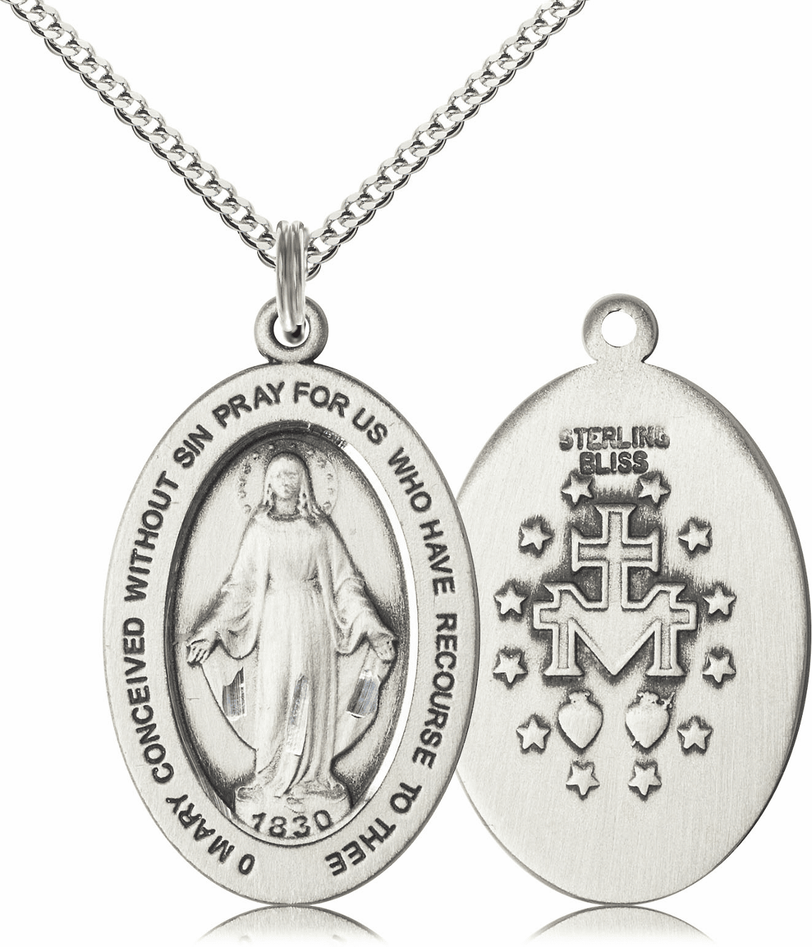 Bliss Mfg Miraculous Medal Sterling Silver Necklace w/Chain