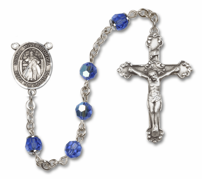 "Bliss Mfg Misericordia/Divine Mercy Spanish Sterling Silver Patron Saint  Swarovski Crystal Rosary - ""More Options"""