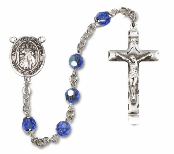 "Bliss Mfg Misericordia/Divine Mercy Spanish Swarovski Crystal Sterling Silver Catholic Saint Rosary - ""More Options"""