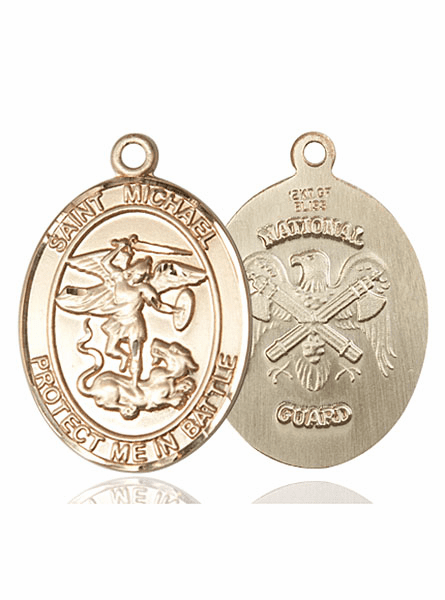 Bliss Mfg National Guard 14kt Gold St Michael the Archangel Medal Pendant